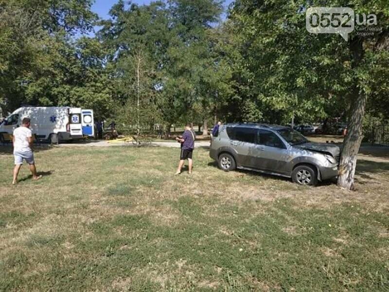 Житель Херсона попал в ДТП не вставая с лавочки: водитель снес скамейку и въехал в дерево, фото-3