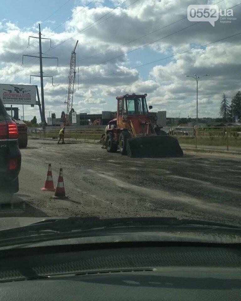 В Херсоне гигантские «пробки» на выезде из города: на Бериславском шоссе ремонтируют дорогу, фото-3