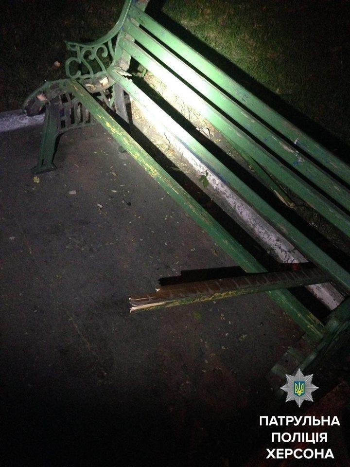 Патрульні затримали херсонця, який ламав лавки, фото-1