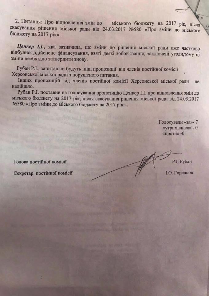 Депутат Херсонского горсовета заявил о фальсификации протокола бюджетной комиссии, фото-3