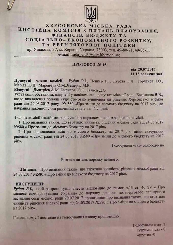 Депутат Херсонского горсовета заявил о фальсификации протокола бюджетной комиссии, фото-2