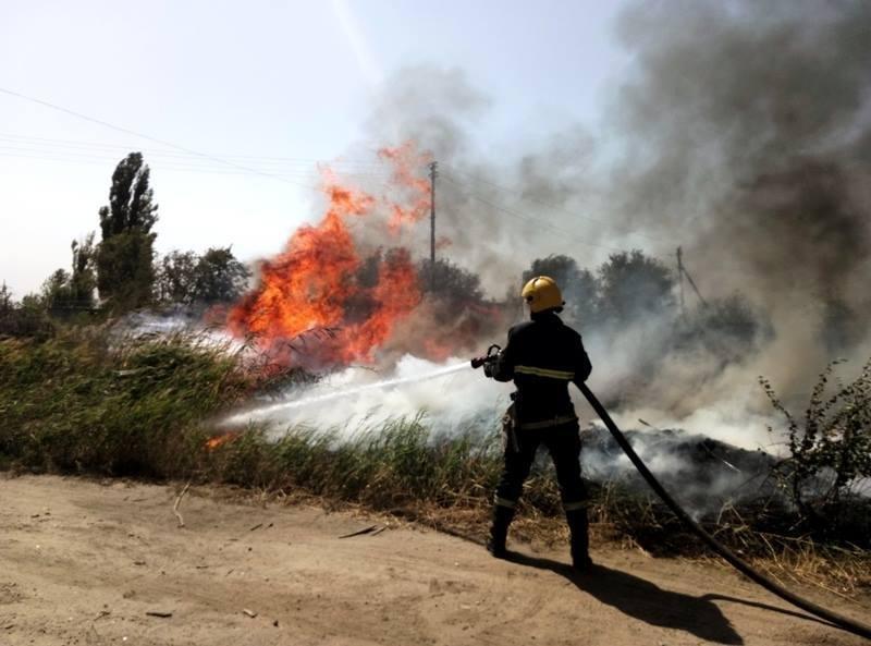 У Каховському районі свідомі громадяни допомагали вогнеборцям ліквідовувати пожежу на дачних ділянках, фото-2