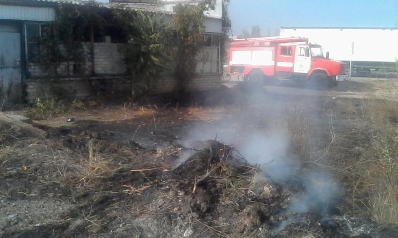Бериславські вогнеборці загасили пожежу сухостою і будівлі, що загорілася від нього , фото-1