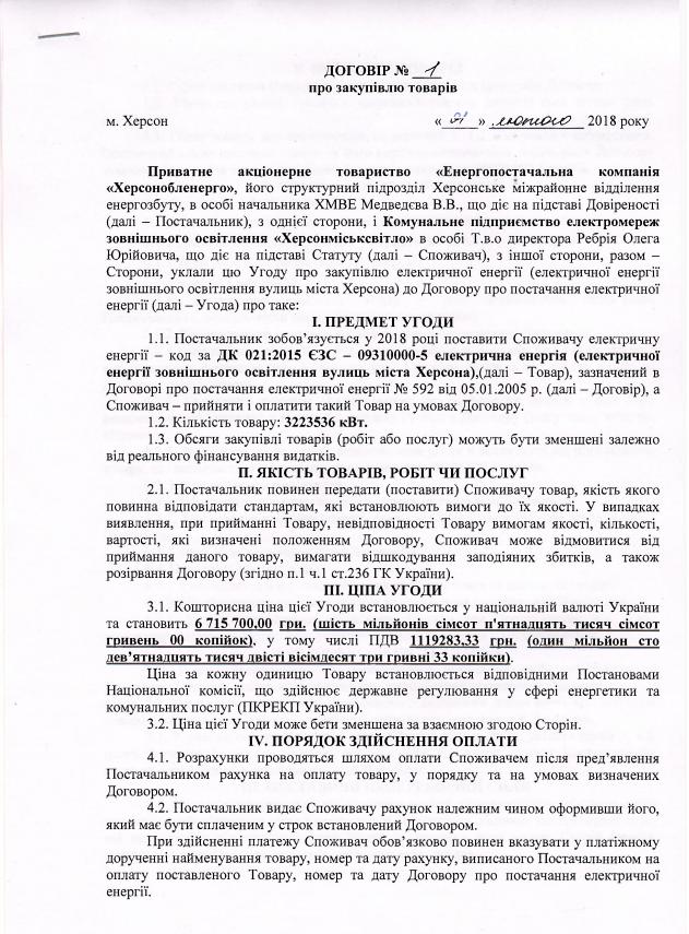"""КП """"Херсонгорсовет"""" закупил электроэнергию для уличного освещения , фото-2"""