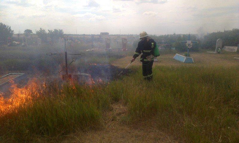 У Нижньосірогозький районі пожежні загасили загоряння на кладовищі, фото-1